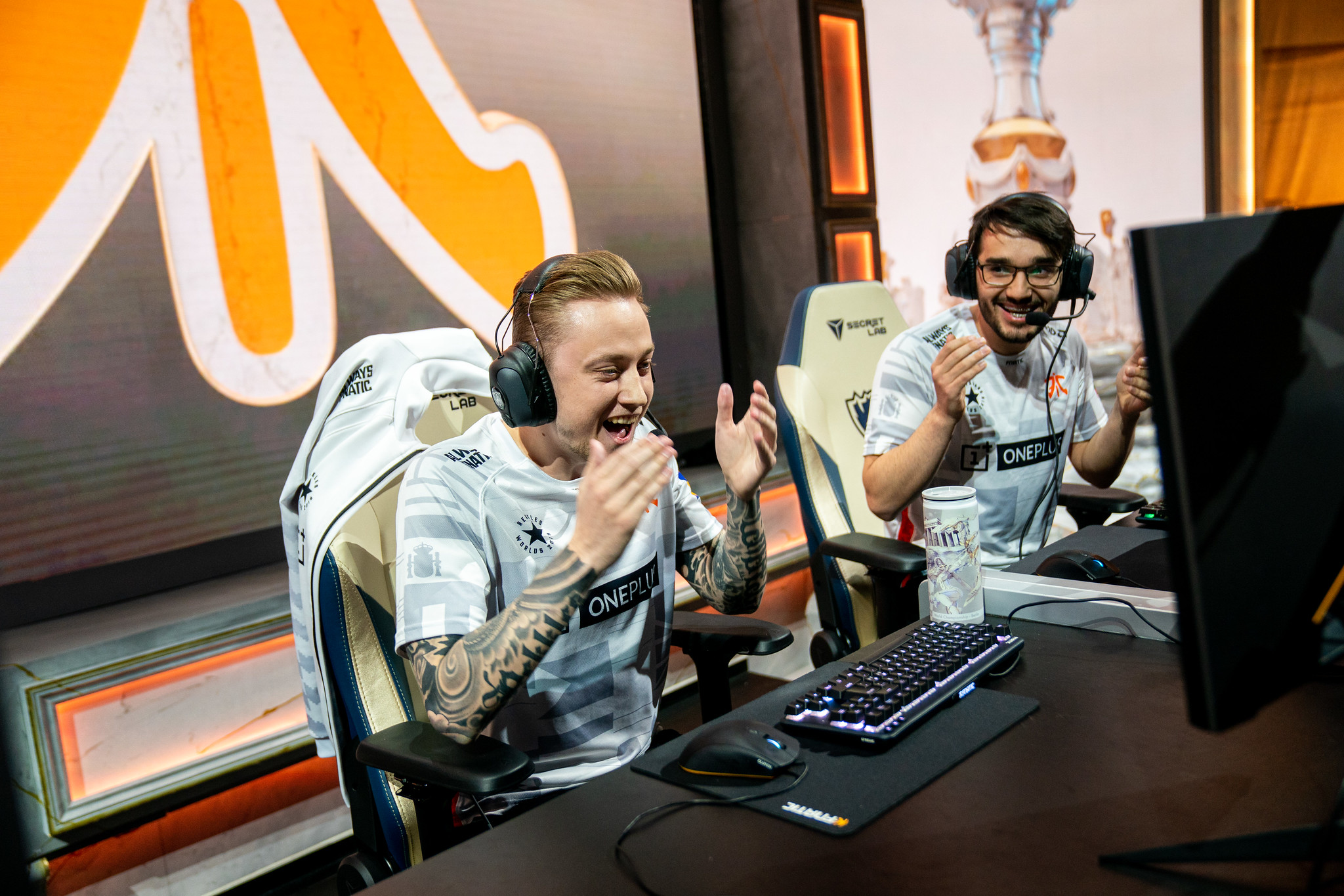 Fnatic's Rekkles and Hylissang elated after their victory against Royal Never Give Up, securing their place out of Groups on Day 7.